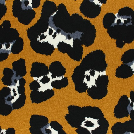 Crepe fabric - mustard Leopardino