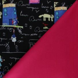 Tissu Softshell Dessin du mercredi - noir x 10cm