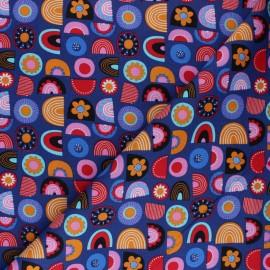 Poplin fabric - Purple Hatton graphic x 10cm