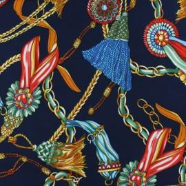 Tissu foulard satin mat - bleu marine x 10cm