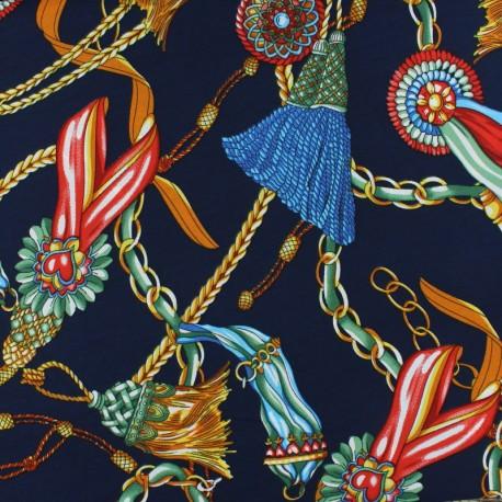 Matte satin fabric - navy blue scarf print x 10cm