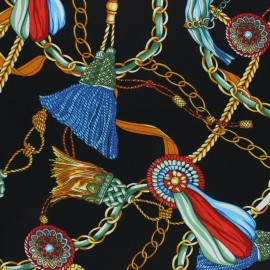 Matte satin fabric - black scarf print x 10cm