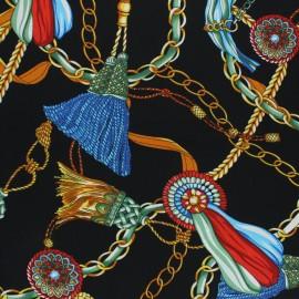 Tissu foulard satin mat - noir x 10cm
