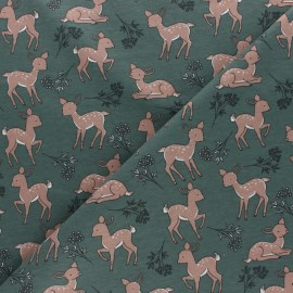 Cotton Jersey fabric - green Bichette x 10cm
