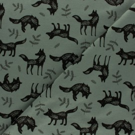 Tissu jersey Petit Loup - vert x 10cm