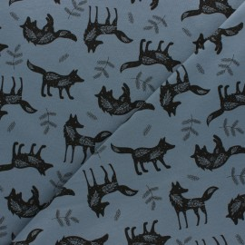 Cotton Jersey fabric - blue Petit Loup x 10cm