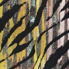 Tissu maille jacquard lurex zèbre - noir x 10cm