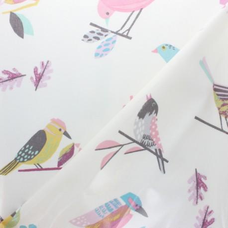Tissu coton enduit brillant Colorful birds - violet x 10 cm