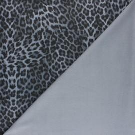 ♥ Coupon 250 cm X 150 cm ♥ Tissu Suédine élasthanne Léopard - gris