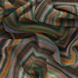 Muslin Fabric - green Chevron folk x 50cm