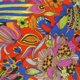 Viscose Jersey Fabric - Orange Colorful Peacock x 10 cm