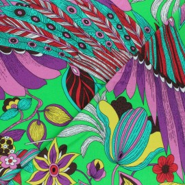 Viscose Jersey Fabric - Green Colorful Peacock x 10 cm