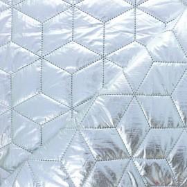 Tissu matelassé nylon doudoune Cubix - argent x 10cm