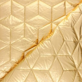 Nylon quilted lining fabric - gold Cubix x 10cm
