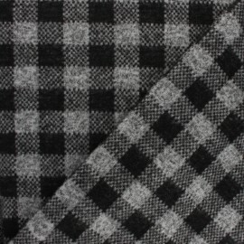 Knitted jersey fabric - black/grey check x 10cm
