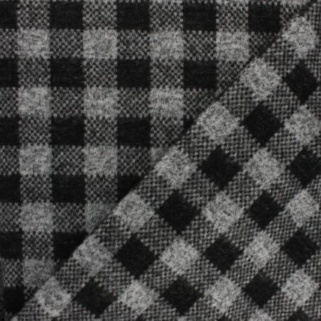 Tissu jersey maille carreaux - gris x 10cm