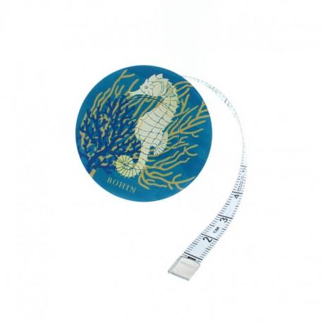 Bohin retractable measuring tape - blue Hippocampe