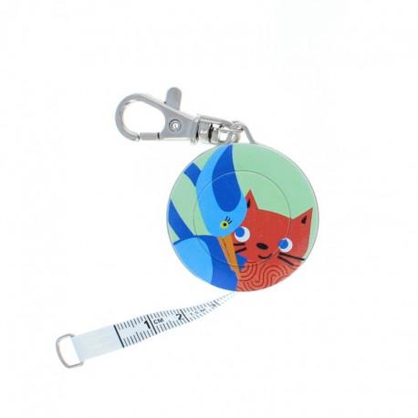 Bohin retractable measuring tape key ring - Oiseau x Chat