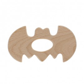 Natural wood teething ring - bat
