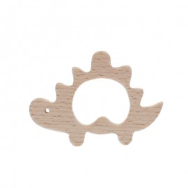 Natural wood teething ring - dinosaur