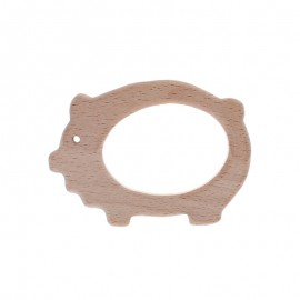 Natural wood teething ring - pig