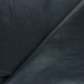 Tissu Simili cuir souple Serpent métallique - bleu nuit x 10cm