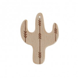 Natural wood teething ring - cactus