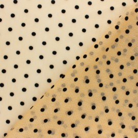 Velvet dotted glittery tulle fabric - silver Arielle x 10cm