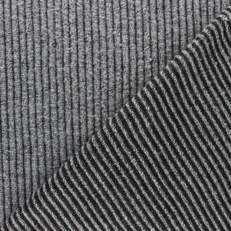 Tissu Maille côtelé - gris chiné x 10cm
