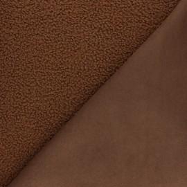 Tissu fourrure Astrakan envers suédine - chocolat x 10cm