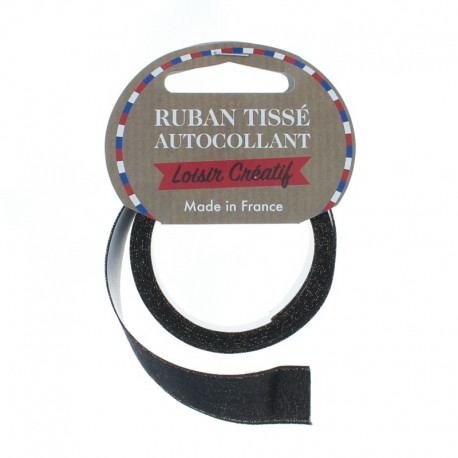 15 mm Self-Adhesive Satin Ribbon Roll - Glittery Black