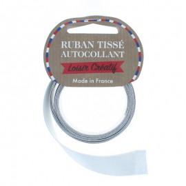 Rouleau de Ruban Satin Autocollant 15 mm - Gris perle Pailleté