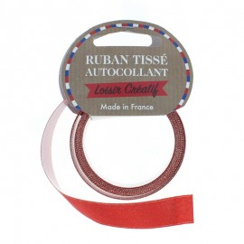 Rouleau de Ruban Satin Autocollant 15 mm - Rouge Pailleté