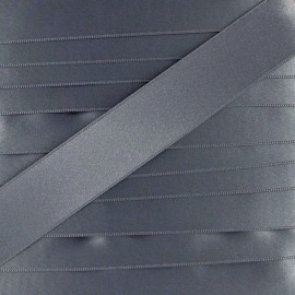 double sided satin ribbon - grey blue x 1m