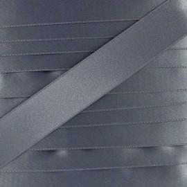 double sided satin ribbon - grey blue x 1m