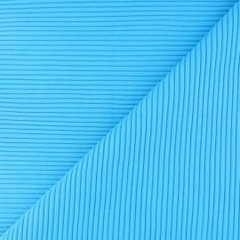 Tissu jersey tubulaire bord-côte 3/3 - bleu turquoise x 10cm