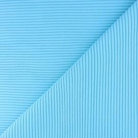 Knitted Jersey 3/3 tubular edging fabric - cyan blue x 10 cm