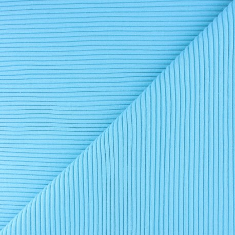 Knitted Jersey 3/3 tubular edging fabric - cyan blue x 10 cm
