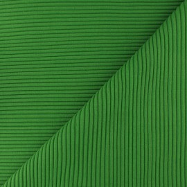Knitted Jersey 3/3 tubular edging fabric - peacock green x 10 cm