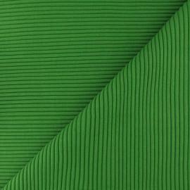 Tissu jersey tubulaire bord-côte 3/3 - vert paon x 10cm