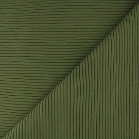 Tissu jersey tubulaire bord-côte 3/3 - vert citron x 10cm