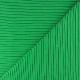 Tissu jersey tubulaire bord-côte 3/3 - vert pin x 10cm