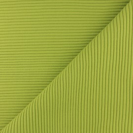 Tissu jersey tubulaire bord-côte 3/3 - vert x 10cm