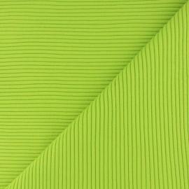 Tissu jersey tubulaire bord-côte 3/3 - vert pomme x 10cm