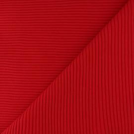 Tissu jersey tubulaire bord-côte 3/3 - rouge x 10cm