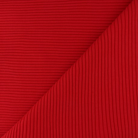 Knitted Jersey 3/3 tubular edging fabric - red x 10 cm