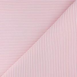 Tissu jersey tubulaire bord-côte 3/3 - rose pâle x 10cm