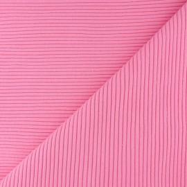 Tissu jersey tubulaire bord-côte 3/3 - rose  x 10cm