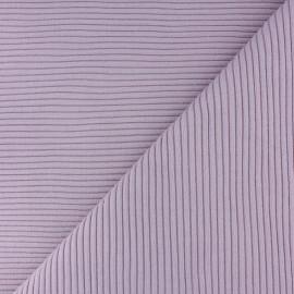 Tissu jersey tubulaire bord-côte 3/3 - lilas  x 10cm