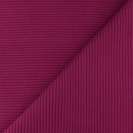 Knitted Jersey 3/3 tubular edging fabric - dark purple x 10 cm